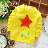 Wholesale Girls Hoodie Tshirt - Wholesale- 2015 Autumn New Casual Solid Boys and Girls Hoodies Star Pattern Cotton Tshirt Simple Children Sudaderas Outwear KT035B