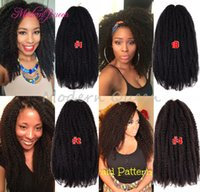 Wholesale Synthetic Afro Kinky Bulk - Cheap Crochet Marley Braids Hair Extensions Afro Kinky Curly Twist Ombre Jumbo Braiding Hair colors Senegalese Curly Marley Twist Bulk