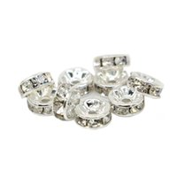 Wholesale Clear Czech Crystal - 100pcs Round Rondelle Spacer Charm Bead Silver Tone White Clear Czech Crystal All Size For Jewelry DIY, IA01-01
