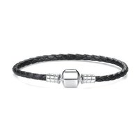 Wholesale leather snake bracelets for men - New 925 Sterling Silver factory price Original Black Leather fit pandora Charm Bracelet Compatible Charm Bead For Women Men DIY Jewelry