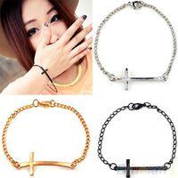 Wholesale Simple Cross Bracelet - 2016 Fashion Korean Women Metal Cross Simple Charm Bracelet 3 colors Silver Gold Black bracelets & bangles 02DE 4N7R 7FPI 898M