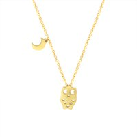 Wholesale Owl Pendant Jewellery - Wholesale 10Pcs lot 2017 Hot Sale Stainless Steel Jewelry Pendant Cute Tiny Owl Moon Gold Chains Statement Necklace Men Women Jewellery