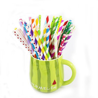 Wholesale Eco Friendly Disposable Spoons - Universal Paper Straws Eco Friendly Straight Disposable Tubularis Colorful For Birthday Party Straw New Arrival 0 06xs B