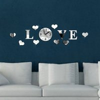 Wholesale Mirrored Acrylic Letters - Wholesale- 3D Acrylic Mirror Heart Pattern Wall Clocks Home Decor For Living Room Large Love Letter Heartshape Wall Clock Home Decoration