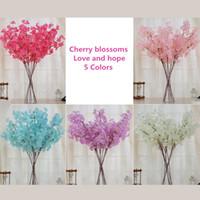 Wholesale Artificial Blossoms - New artificial flowers simulation Cherry blossoms wedding supplies silk flower bouquet home decoration 5 colors 10 PCS  Lot