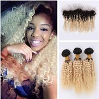 bakire saç kıvırcık kıvırcık ön toptan satış-Koyu Kök Afro Kinky Kıvırcık Malezya Bakire Saç Örgüleri Ile Dantel Frontal Sarışın Ombre # 1B 613 İnsan Saç Paketler Dantel Frontal Kapatma