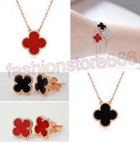 Wholesale Light Green Jade Jewelry - fashion 925 Clover Pendant Necklace Bracelet Earrings Black Agate Red Jade White Shell Jewelry Sets Gold Rose Gold Silver Chains