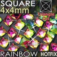 Wholesale Hot Fix Crystal Shapes - Wholesale- Square 4X4mm 350pcs Lot RainBow Crystals HotFix FlatBack Rhinestones glass strass,Fancy shape DMC Hot Fix stones for wedding