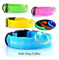 Wholesale Beeper Collars - Flashing LED Dog Collar For Pet Christmas Glowing Plain Nylon Luminous Specialized Dog Collar Wholesale Decorative Dog Beeper Collar