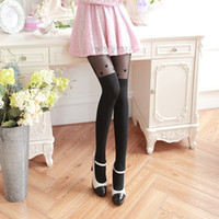 Wholesale Heart Stocking Tights - Wholesale-New fashion Women Girl Tights loving Heart Pattern False High Stocking Pantyhose For Female Spring summer Autumn