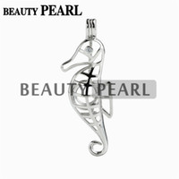 Wholesale Sterling Silver 925 Sea - 5 Pieces Gift Sea Horse Pearl Cage Pendant Mounting Wish Love Pearl 925 Sterling Silver Cages