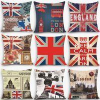 "Wholesale Water Cooler Cheap - Wholesale- 1pc Euro style cheap cushions England london Print Decorative Cushion Throw Pillow 18"" Vintage Cotton Linen Square MYJ-B1"
