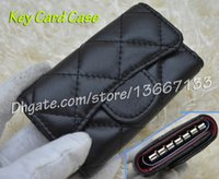 Wholesale Key Case Cover Leather - Comeinu9 Wome's Cute Key Card Case Genuine Lambskin Mini Key Wallets Black Caviar Card Holder Female Purse pouch come with box