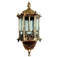 lâmpadas de parede exteriores europeias venda por atacado-Bronze antigo bronze IP65 luxary americano europeu ao ar livre sconce vintage clássico à prova d 'água luz de parede ao ar livre lâmpada de parede lanterna de parede