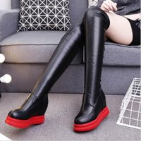 Wholesale White Flat Thigh High Boots - 2017 Hot Quality Womens Over The Knee-High Boots Comfortable Thigh High Boots Black Thick Heel Thigh Riding Women Boots