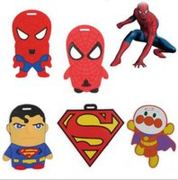 Wholesale Baggage Identification - Spider man Superman Cartoon Boys lage tag pvc travel baggage Identification card suitcase label for gift free shipping C025