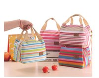 Wholesale Kids Canvas Lunch Bags - Insulated Tote Lunch Bag Picnic Box Canvas Cooler Thermal Food Drinks Handbag Lunchbox For Adults Kids 10pcs lot free ship
