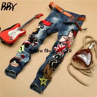 Wholesale Boys Size Skinny Jeans - Wholesale- Big Size 30-38 Embroider Printed Men Jeans Fashion Male Unique Cotton Jeans For Cool Boy Casual Debris Printing Pants HombreR426