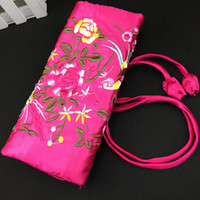 Wholesale Rolling Purse - Silk Embroidered Travel Roll Up Jewelry Packaging Bag Necklace Bracelet Bangle Earring Ring Storage 3 Zipper Pouch Clutch Women Purse