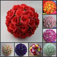 Wholesale beautiful purple roses for sale - Group buy Beautiful Kissing Ball Pomander Flowers Ball With Leafs quot Dia For Wedding Room Kindergarten Decortion Supplies