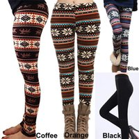 Wholesale Thick Winter Leggings For Women - 20pcs 2016 Fall Winter Leggings for Women Fur Thick Warm Fleece Snowflake Deer Printed Lady's Black Tights Pencil Bodycon Pants 12 Colors