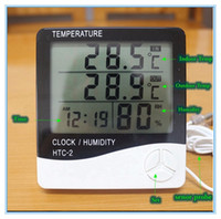 Wholesale Digital Hygrometer Clock - Digital LCD Thermometer Hygrometer Electronic Temperature Humidity Meter Weather Station Indoor Outdoor Tester Alarm Clock HTC-2
