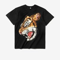Wholesale Tiger Japanese - 2017 Summer Tide Brand Streetwear Japanese Style Tiger Prints Men 3D Cotton Hip Hop Short Sleeve T Shirt High Quality