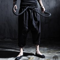 Wholesale punk rock pants trousers - Wholesale-Men linen casual pant rope belt punk rock big crotch pants male ankle length trousers street fashion vintage harem pant,Q87