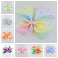 Wholesale Big Rhinestone Hair Claw Clips - 20pcs Jeweled Pastel flora ombre ribbon 18cm big Signature hair bows Alligator clips crystal Rainbow Rhinestone Accessory HD3474