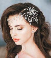 joyería de la tiara de la frente al por mayor-Diadema de perlas Frente Cadena de cabello Joyas Boda Nupcial Flor Tiara Corona Accesorios para el cabello Fiesta Fiesta Tocado Plata Cabeza Pieza Barato