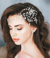 Wholesale bridal jewelry head pieces for sale - Group buy Pearl Headband Forehead Hair Chain Jewelry Wedding Bridal Flower Tiara Crown Hair Accessories Party Prom Headdress Silver Head Piece Cheap