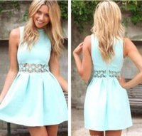 Wholesale Dr Prom - 2017 short Cute Mint r stain A-line zipper lace sash Ruched Prom Dresses Pleats Backless In Stock Bridesmaid Dresse Cheap Short Party Dr