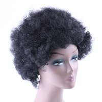 Wholesale Synthetic Afro Wigs - Afro Kinky Curly Synthetic Wig African American Heat Resistant Kanekalon Short Curly Party Wigs for Black Women