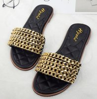 Wholesale Summer new arrival high quality elegant classic luxury brand Gold chain leisure beach women slippers