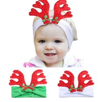 Wholesale Christmas Antlers Head Band - Christmas Style Headband Kids Headwear Hair Accessories grosgrain ribbon Bow Head Bands Cute Xmas Milu Antler Newborn Hair Bands