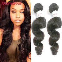 Wholesale Indian Remy Wavy Sale - Glamorous Brazilian Hair Bundles 2Pcs Loose Wave Wavy Human Hair Extensions Natural Color Peruvian Malaysian Indian Remy Hair Weaves On Sale