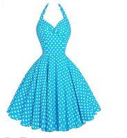 Wholesale rockabilly halter - Womens Summer Audrey Hepburn Dresses 2017 Strapless Halter Robe Retro Vintage 50s 60s PinUp Big Swing Polka Dot Rockabilly Dress