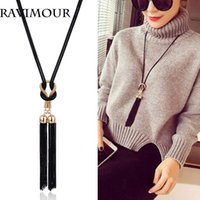 Wholesale Long Tassel Gold Necklace - RAVIMOUR Long Necklace Gold Black Chains Necklaces & Pendants Jewelry Fashion Tassel Chokers Bijoux 2017 New Year Gifts