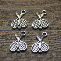 Wholesale Tennis Racket Charm Necklace - 40pcs  14x18mm Tibetan Silver Plated Tennis racket Charms Pendants for Necklace Bracelet Jewelry Making