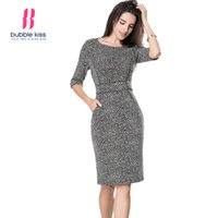 Wholesale Wholesale Half Pencils - Wholesale- Women Bodycon Office Dress Vintage Print Half Sleeve Knee Length Pocket Sexy Pencil Dress Vestidos Boho Robe Femme Bubblekiss