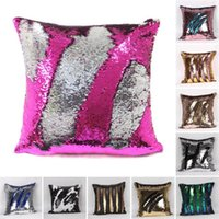 Wholesale Decorative Cover Pillows - Fashion Mermaid Sequin Pillowcases two tone sequin pillowcases continental mermaid decorative pillow case DIY case Pillow Covers 23 colors