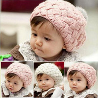 Wholesale Crocheted Caps For Girls - 2017 baby hat kids baby photo props beanie,faux rabbit fur gorros bebes crochet beanie toddler cap for 4 months-3 years old girl