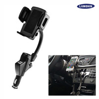 Wholesale Car Lighter Phone Mount - Dual USB 2A Cell Phone Mounts with Car Lighter Charger Holders Stands 360 degree Rotable For iPhone 7 Samsung Galaxy with Retail Box