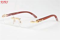Wholesale Wood Framed Optical Glasses - 2017 Rimless Sunglasses For Men Wooden Buffalo Horn Glasses Brand France Designer Optical Sunglasses Women Gold Wood Glasses Eyewear Frames