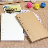 Wholesale Craft Paper Notebook - Wholesale- 100 sheets 17.5*10.5cm Vintage Notebook Loose-leaf Refill Paper Cowhide Craft White and Yellow for Spiral Journal Diary 01610