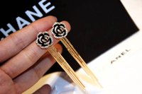 Wholesale Camellia Flower Earrings - Camellia Flowers Tassel Long Fashion Luxury Famous Brand Jewelry gold-color 2017 New Dangle Earring For Women E000664