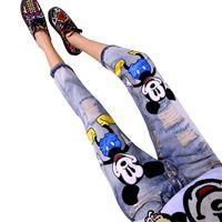 Wholesale Vintage Lucky Brand - Wholesale- LUCKY STAR Brand 2017 Fashion Cartoon Boyfriend Jeans for Women Vintage Girls Ripped Jeans Denim Pencil Pants Plus Size A149