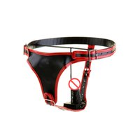 Wholesale Male Chastity Belts Leather - Male Chastity Belt Sex Dildo Pants With Butt Plug Masturbation underwear High quality Real Leather Sex Bondage Pants Free shipping