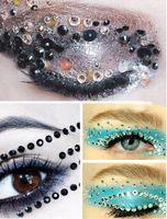 Wholesale Rhinestone Eye Stickers - New Rhinestone Temporary Eyeshadow Tattoo Stickers Adesivo Fake Eye Rock Tatouage Party Makeup Cosmetic Decoration
