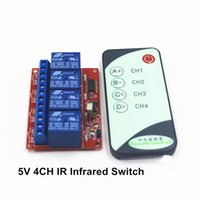Wholesale Infrared Remote Control Receiver - Wholesale- 4-Channel Way 5V IR Wireless Remote Control Switch Receiver Relay , with a Infrared Controll Transmmiter
